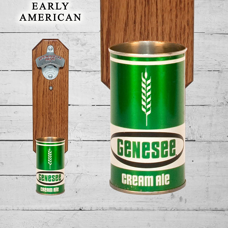 Wall Mounted Bottle Opener with Vintage Genesee Cream Ale Beer Cap Catcher