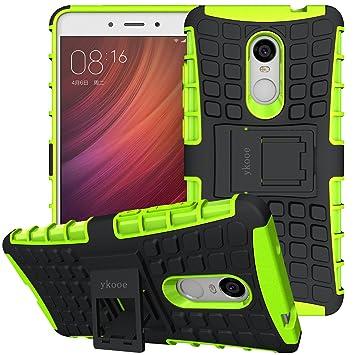 ykooe Funda Xiaomi Redmi Note 4, Silicona Carcasa Redmi Note 4 Doble Capa Híbrida Accesorios Movil Funda con Soporte para Xiaomi Redmi Note 4 4X - ...