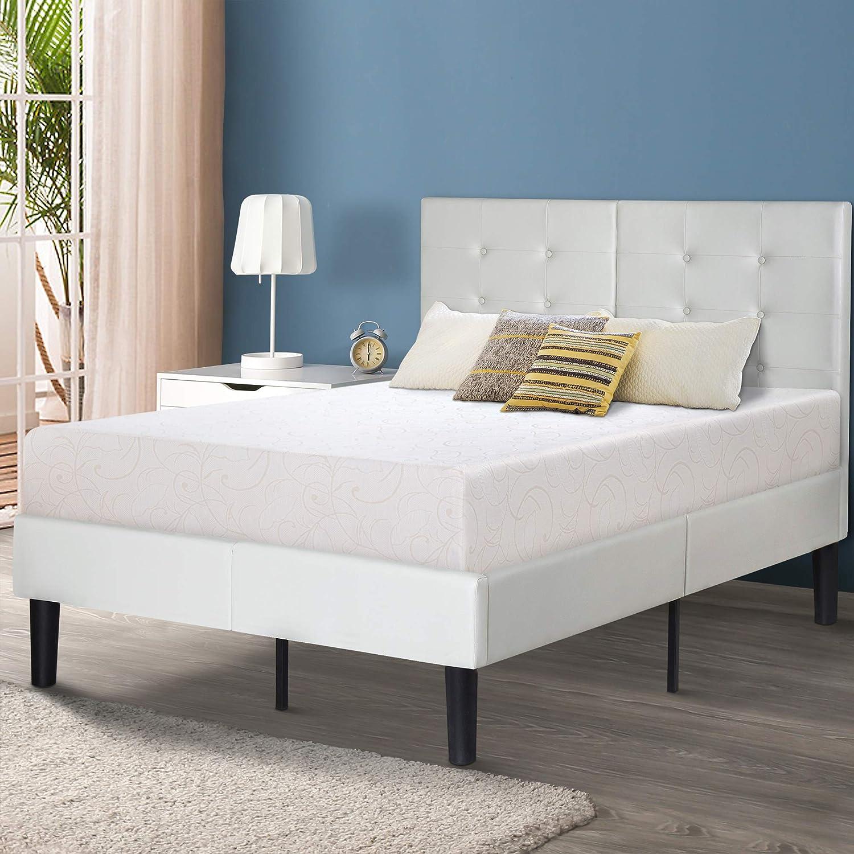 Sleeplace 14 Inch Dura Metal Faux Leather Wood Folding Platform Bed Frame Light Grey Pb 5000 Full Furniture Decor