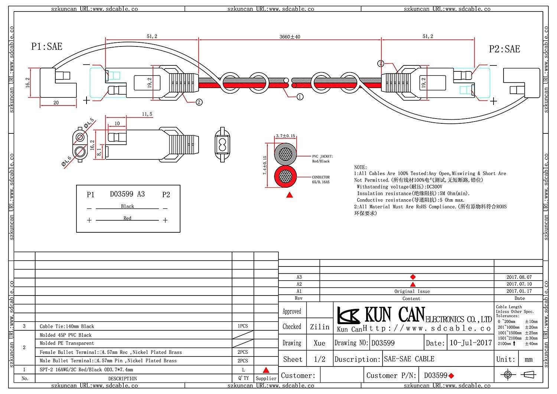 C/âble d/'extension Kuncan SAE au SAE DC Cordon C/âble de connexion /à raccordement rapide SAE
