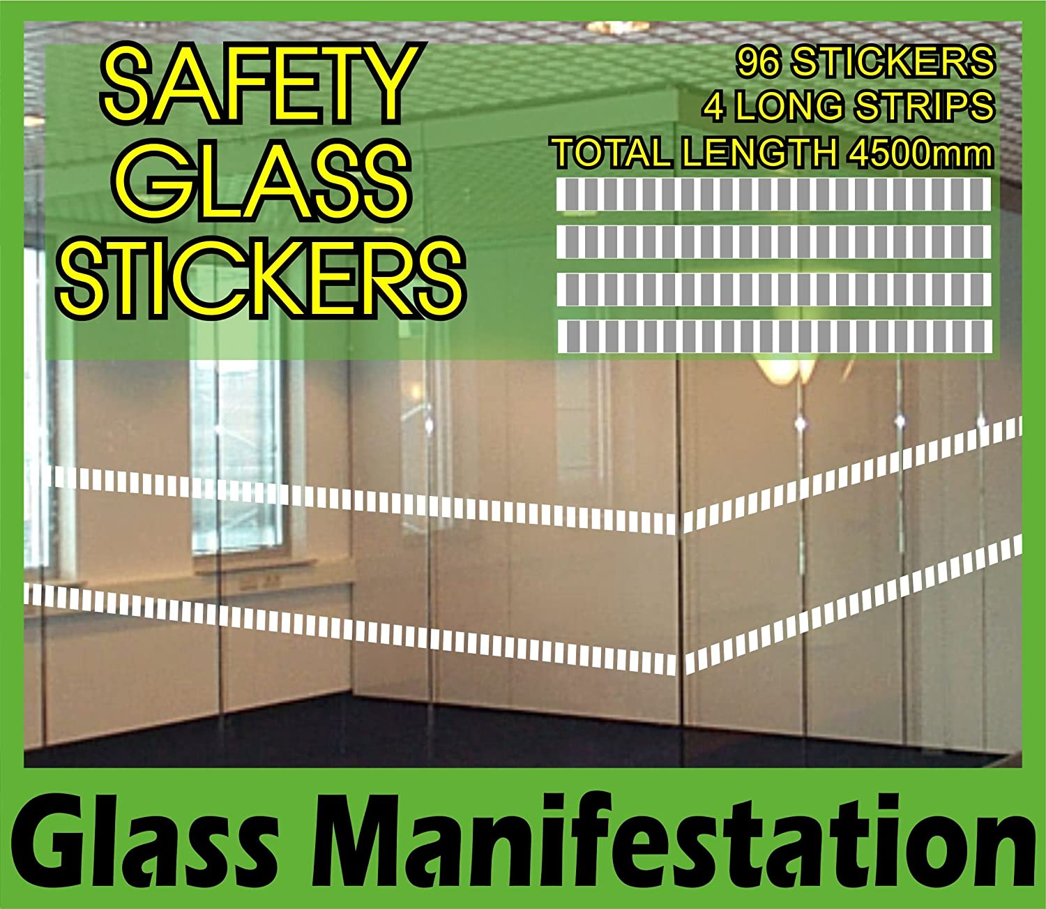 Pack of 96 glass safety stickers 75mm x 30mm each manifestation etch effect front shop patio doors easy application quality product pre spaced 4500 mm in