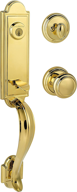 Baldwin Prestige Avendale Single Cylinder Handleset with Alcott Knob featuring SmartKey in Lifetime Polished Brass