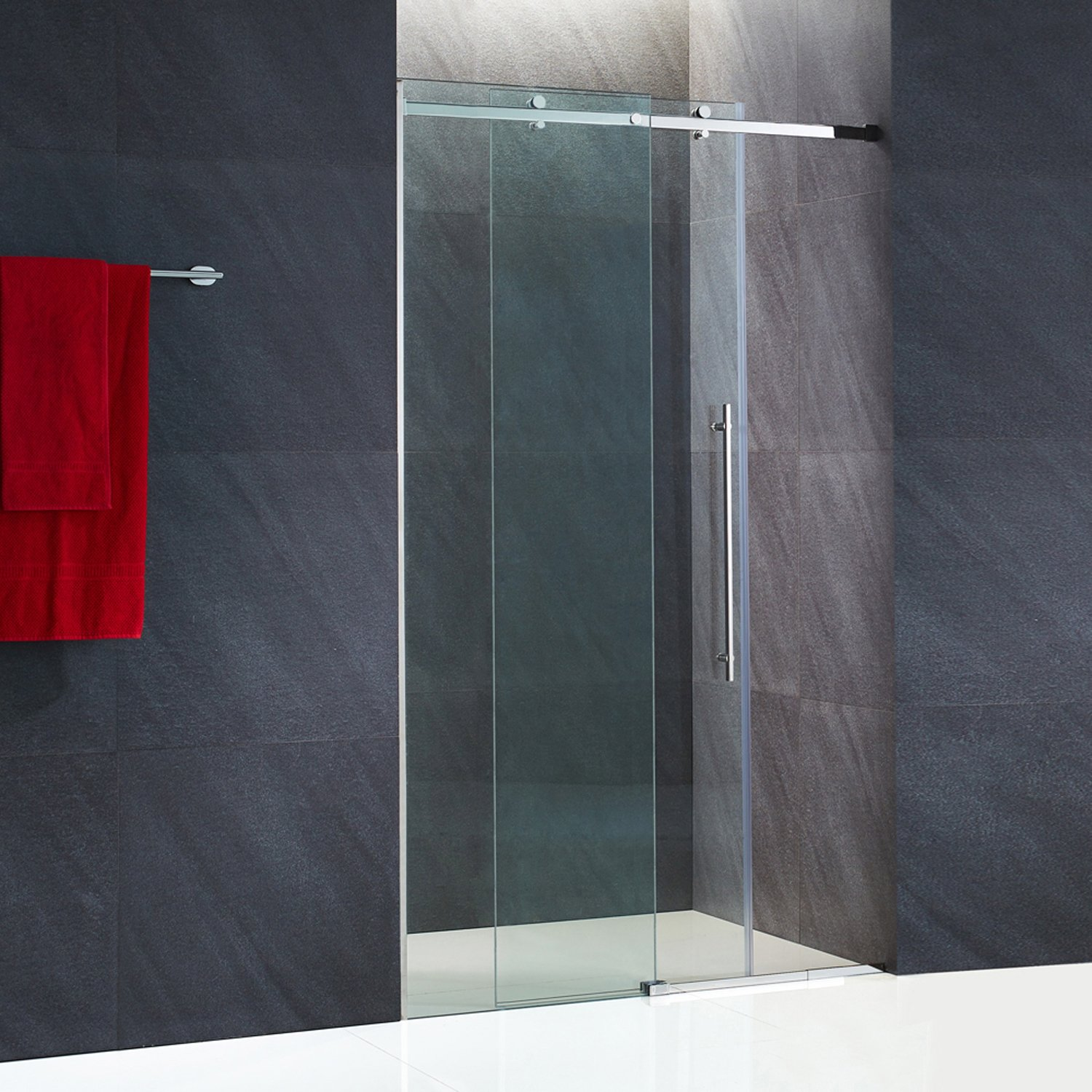 VIGO Luca 56 to 60-in. Frameless Sliding Shower Door with .375-in. Clear Glass and Chrome Hardware by Vigo (Image #10)