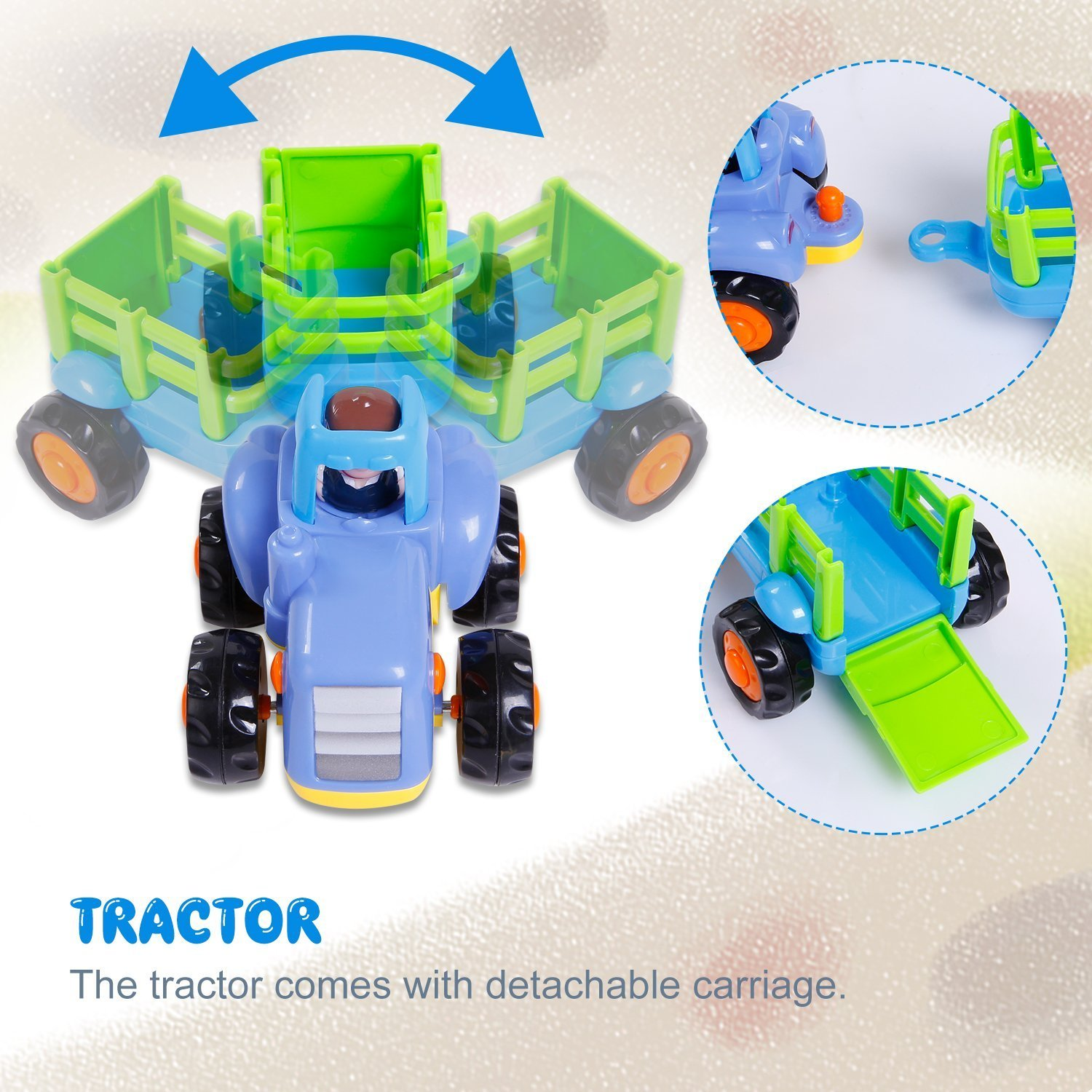Friction Powered Cars Push and Go Car Construction Vehicles Toys Set of 4 Tractor,Bulldozer,Cement Mixer Truck,Dumper Push Back Cartoon Play for  2 3 Years Old Boys Toddlers Kids Gift by GoStock (Image #8)