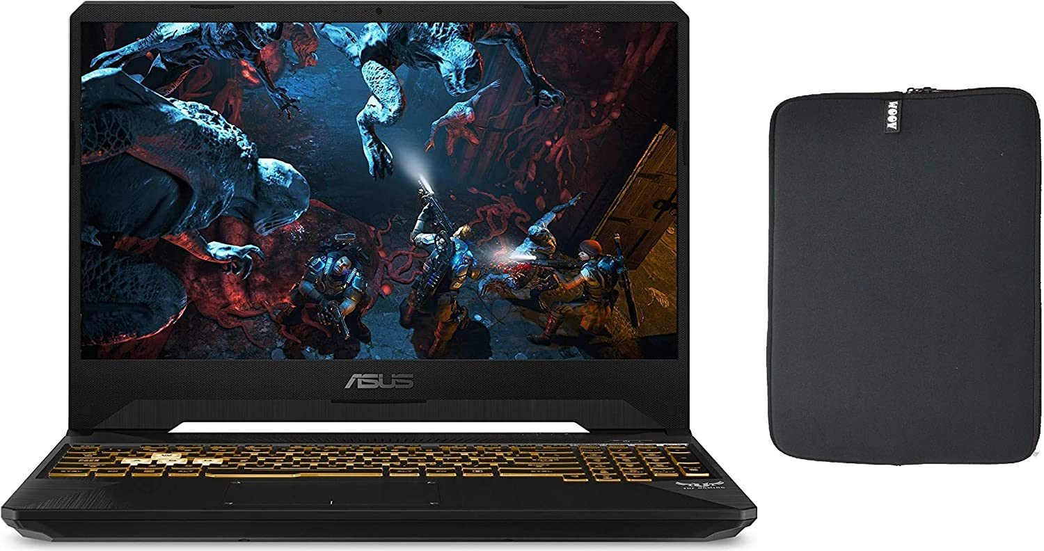 "Newest Asus 15.6"" FHD IPS 120Hz Premium Gaming Laptop, Intel 6-Core i7-9750H, 8GB RAM, 1TB PCIe SSD, NVIDIA 1650 4GB, RGB Backlit Keyboard, Windows 10 + Woov Laptop Sleeve Bundle"