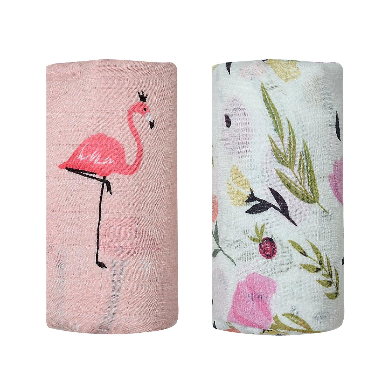 Bamboo Muslin Swaddle Square Blankets - 2 Pack Rose & Lemon Print Baby Receiving Blanket Wrap for Girl Shower Gift by Qav Juh (Rose&Lemon) Yichang PuLuSiTe .