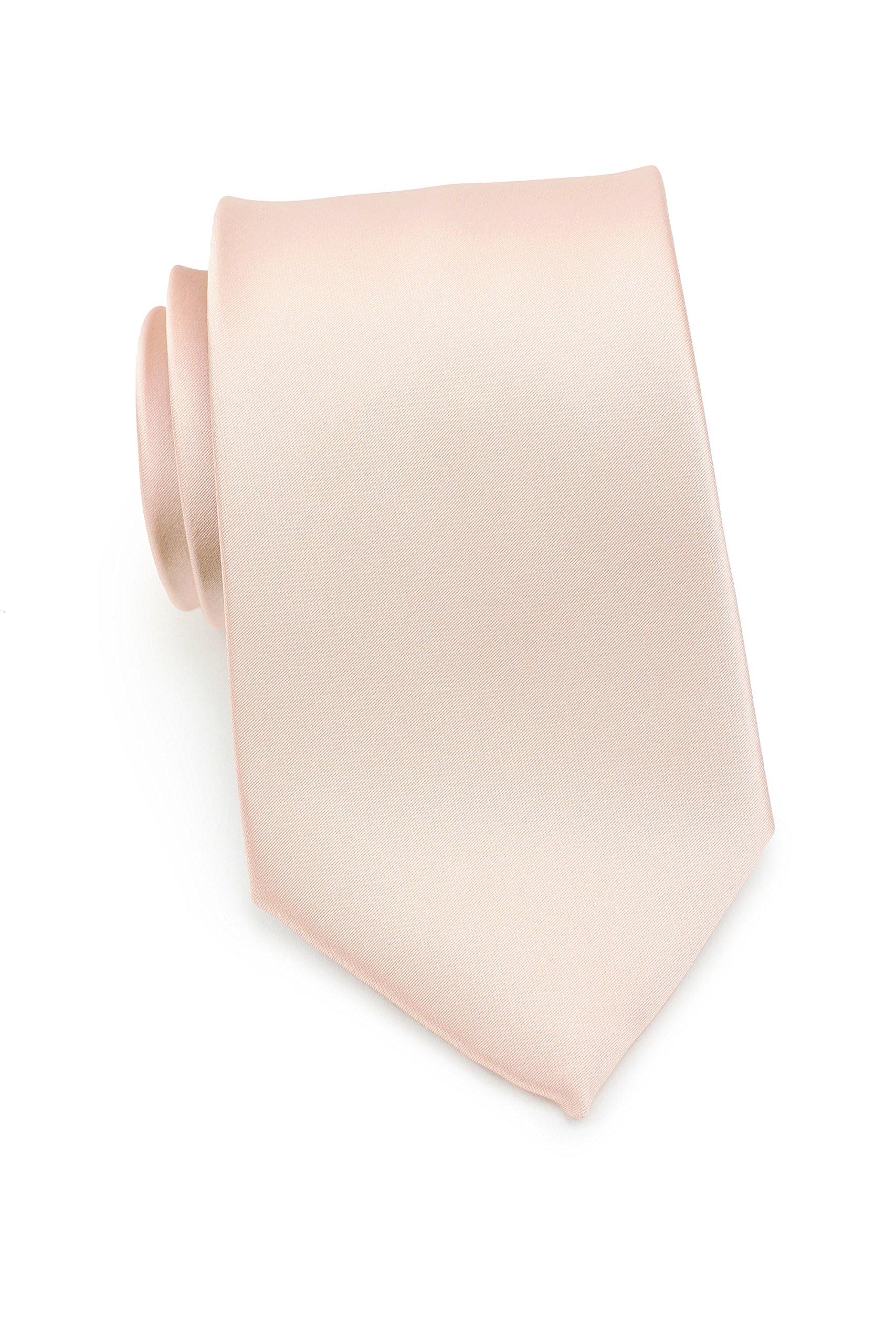 Bows-N-Ties Men's Necktie Solid Color Microfiber Satin Tie 3.25 Inches (Antique Blush)