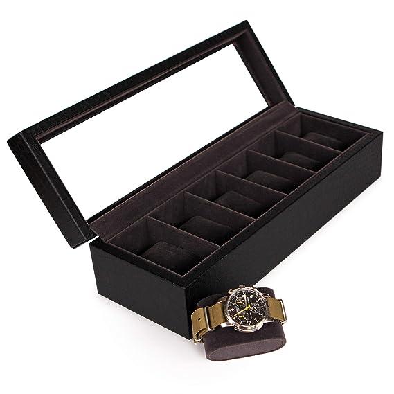 Elegante Caja para Relojes con Acabado de Cocodrilo Negro Falso con Exhibidor de Vidrio Real de Case Elegance: Amazon.es: Relojes
