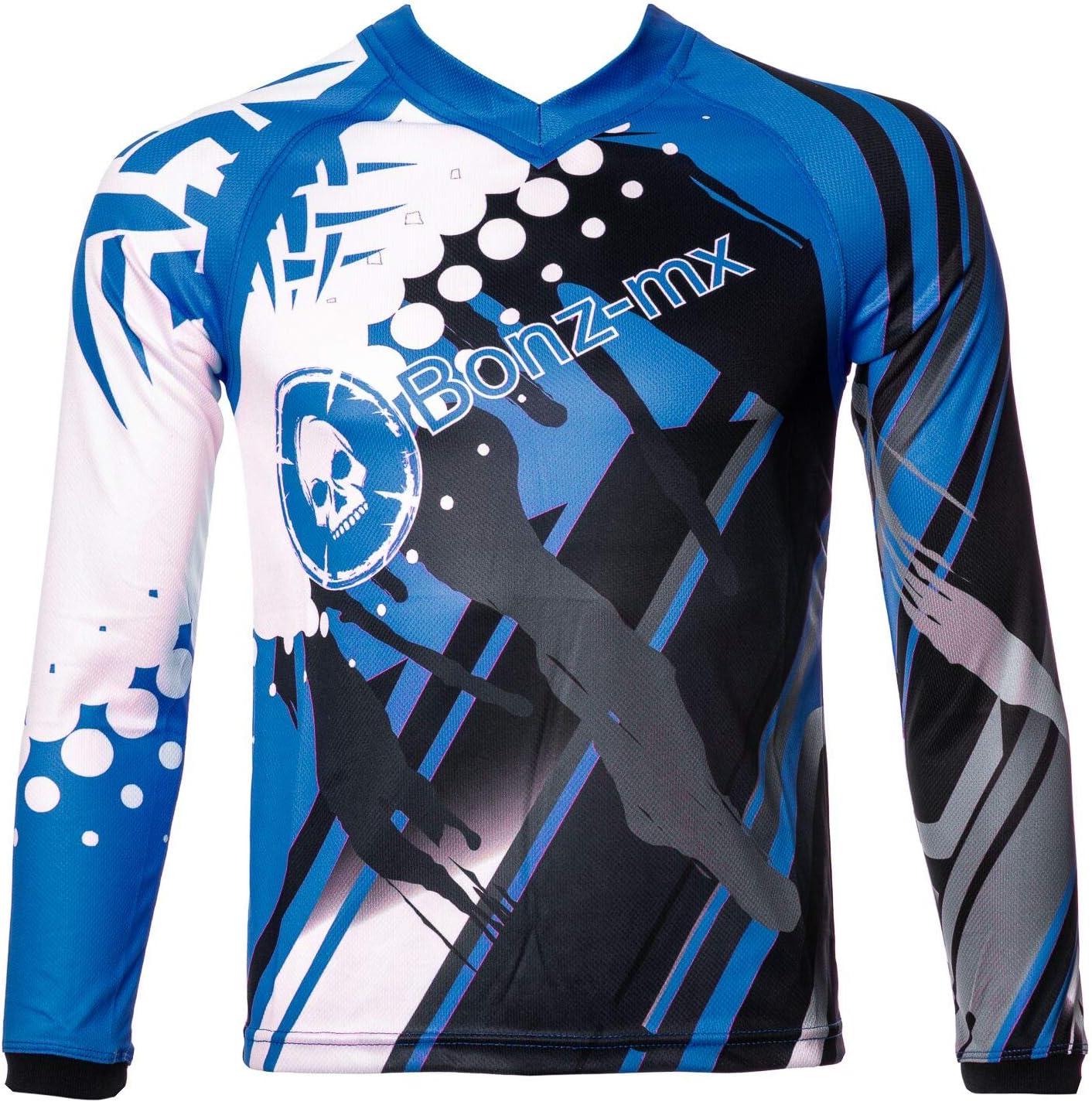 Bonz Mx Kids Quad Dirt Motocross Bmx Enduro Childrens Jersey Top 6-8YRS, BLUE//CHILD