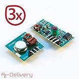 AZDelivery 433 MHz Funk - Sende und Empfänger Modul Set für Raspberry und Arduino Wireless Transmitter Receiver (3 x 433 MHz Set)