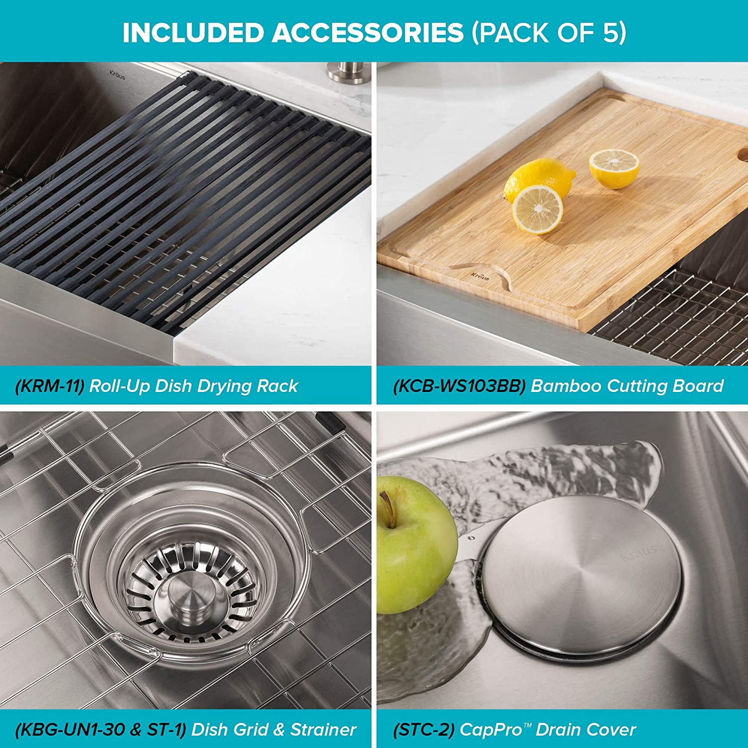 30 Inch Rounded Apron Front Kraus Kwf210 30 Kore Workstation 16 Gauge Farmhouse Single Bowl Stainless Steel Kitchen Sink With Integrated Ledge And Accessories Pack Of 5 Kitchen Fixtures Kitchen Bar Sinks