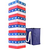GoSports Giant Wooden Toppling Tower (Stacks to 5+ Feet) - Choose Between Natural, Brown Stain, Gray Stain or Stars and Strip