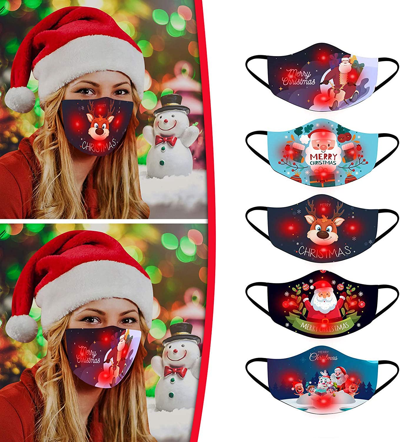 3//5//6PC Merry Christmas Holiday Face/_Mask,LED Adult Cute Christmas Light Up Glowing For Men And Women