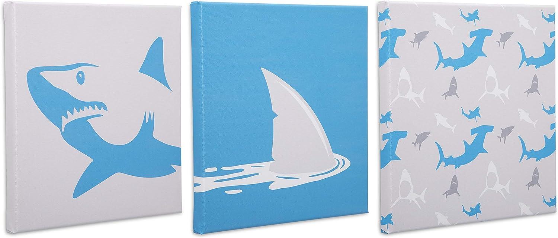 Delta Children 3-Piece Canvas Wall Art Set for Boys, Shark