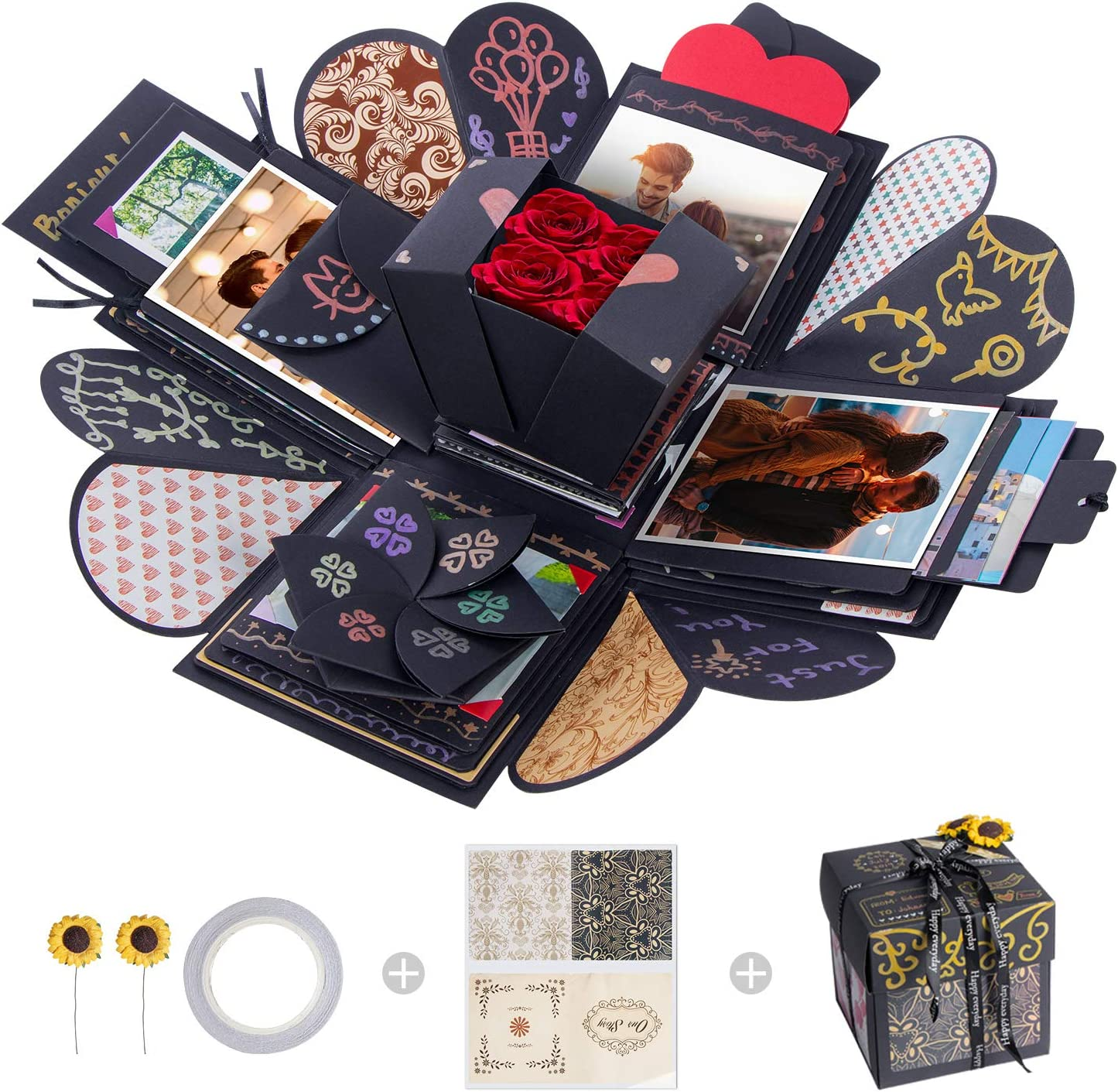 Momsiv Creative Explosion Box Love Memory Diy Photo Album Surprise Box Handmade Exploding Picture Box As Birthday Anniversary Wedding Christmas Gift Black