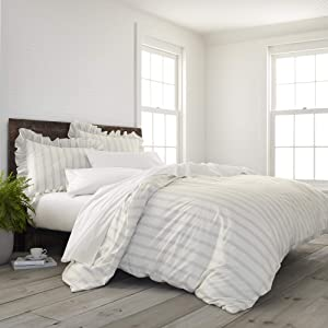 EcoPure 100% Organic Cotton Wash Brooke Comforter Set, King, Gray