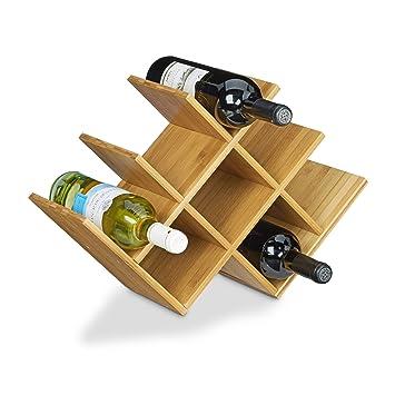 Relaxdays Cantinetta/mobile cantinetta portavino in legno di ...