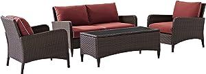 Crosley Furniture Kiawah 4-Piece Outdoor Wicker Conversation Set with Sangria Cushions - Brown