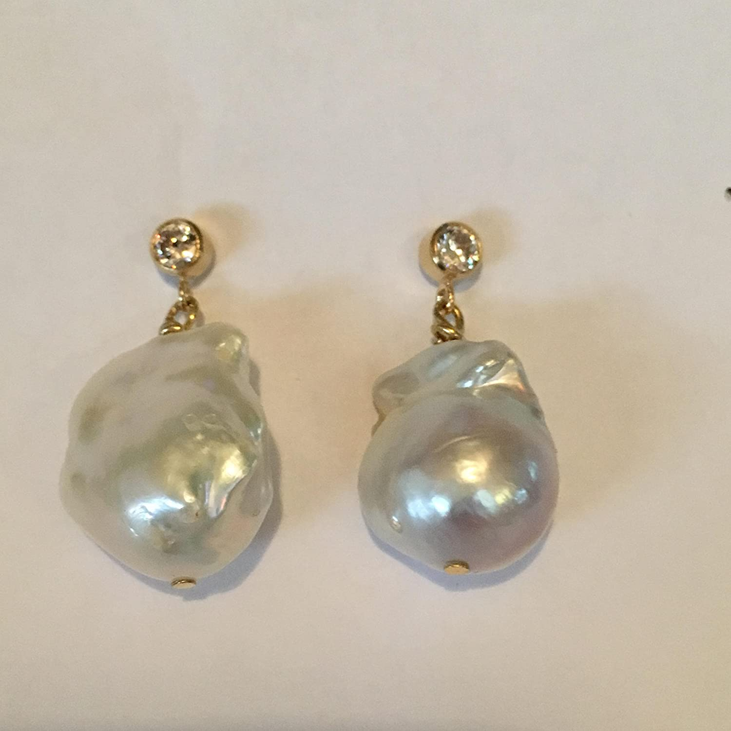 cbc15ce0c Tahitian cultured freshwater baroque high luster 22mm flame ball stud  dangle drop white pearl earrings hung gold plated earring posts with CZ's.