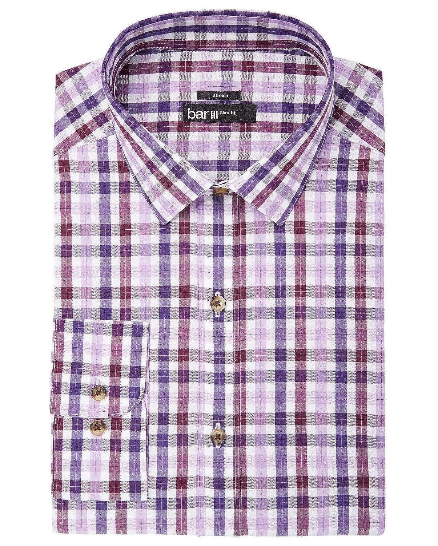 Bar III Mens Check Button Up Dress Shirt