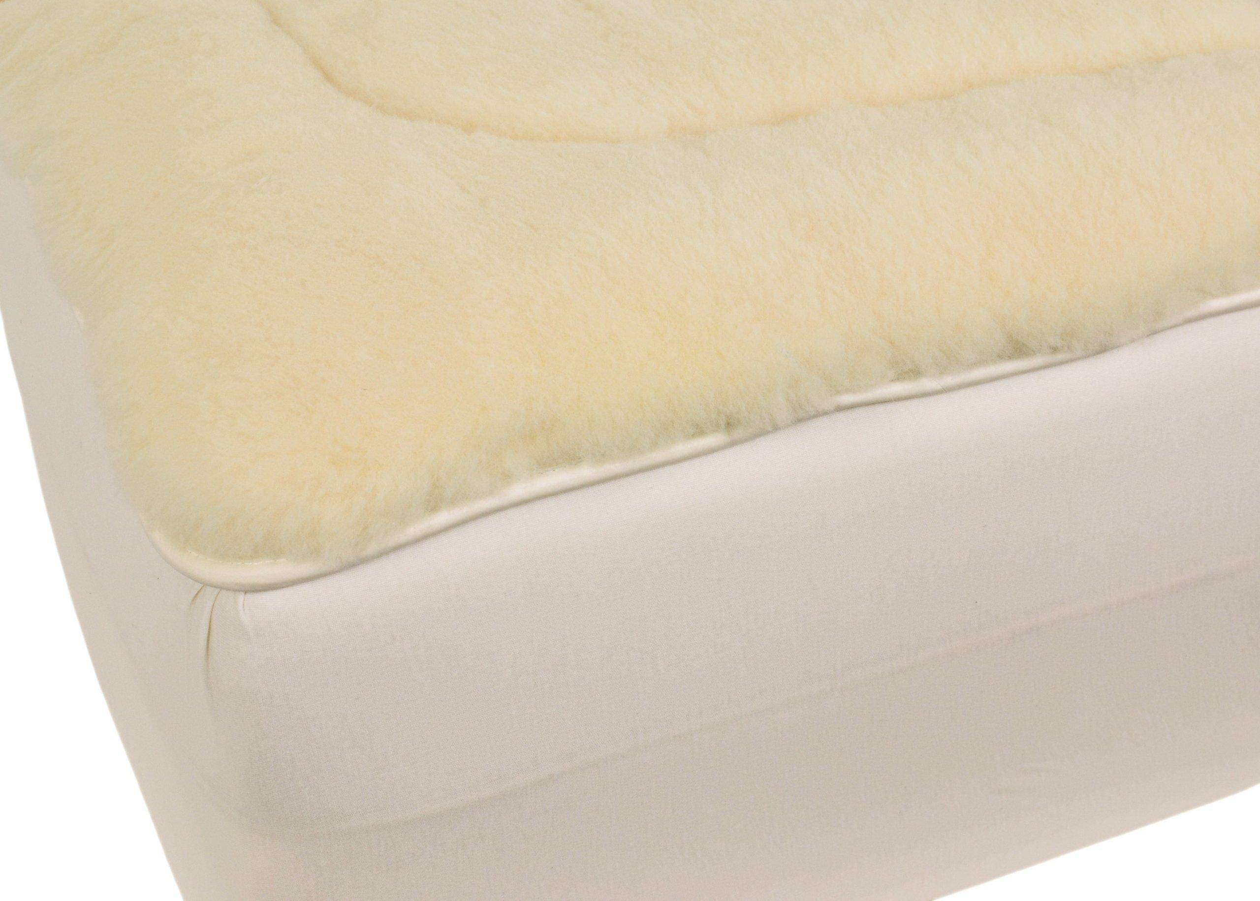 Cal Ripken Deluxe All-Natural 350 GSM Australian Merino Wool Reversible Mattress Pad by Herington, Natural