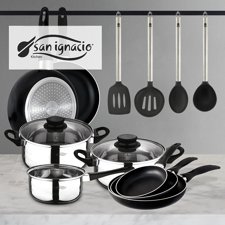 San Ignacio PK332 Set Tres sartenes + Batería 5 Piezas + Juego de Utensilios de Cocina, Cromado: Amazon.es: Hogar