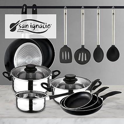 San Ignacio PK332 Set Tres sartenes + Batería 5 Piezas + Juego de Utensilios de Cocina