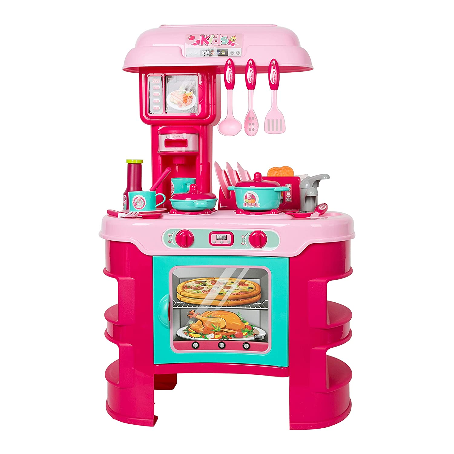 KARMAS PRODUCT Kitchen Playset,Pretend Play Cooking Includes Oven Microwave 28PCS Kitchen Accessories Set with Realistic Lights & Sounds for Kids (Pink)
