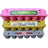 Egg Cartons for a Dozen Eggs (12 Pack) made from Recycled Pulp with BONUS Egg Carton Labels (Variety Pack)