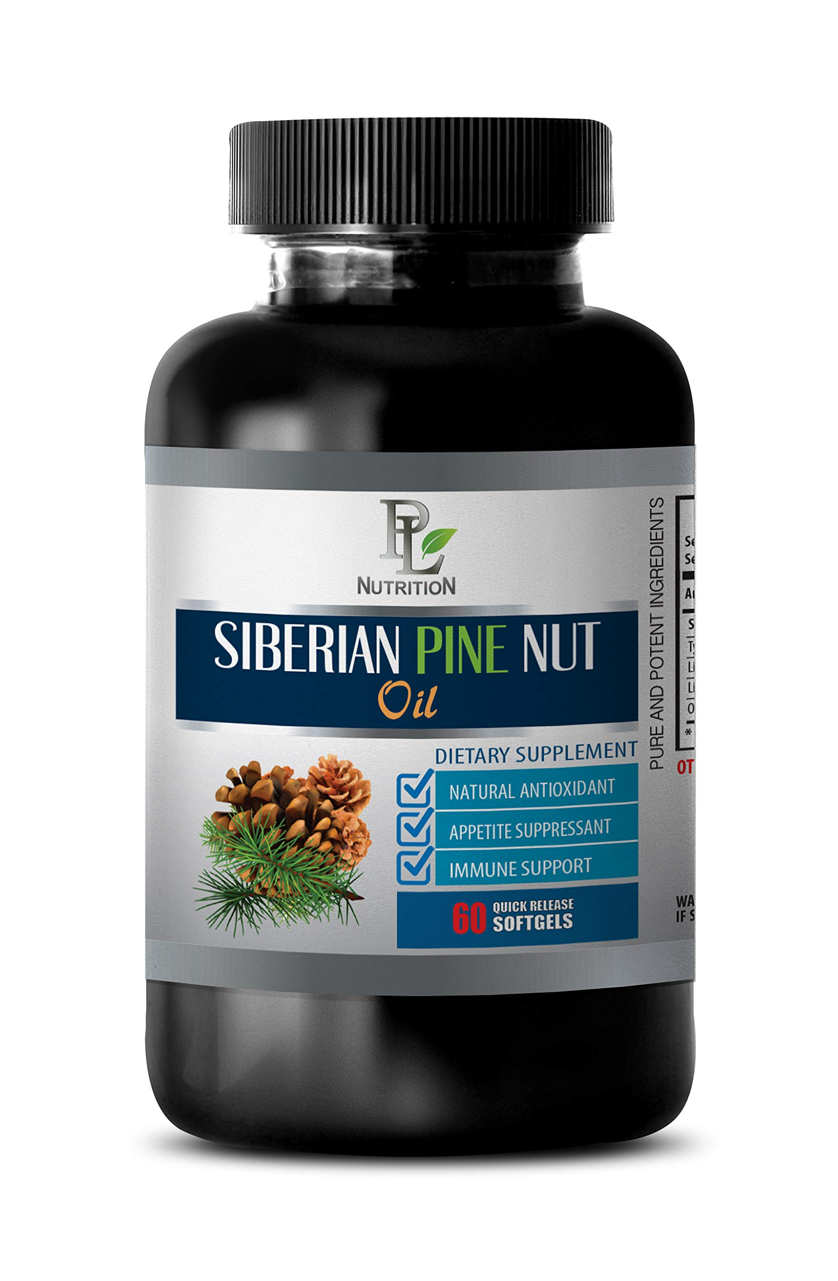 Immunity aid Essential Oil - Siberian Pine NUT Oil - Dietary Supplement - Energy Supplements for Women - 1 Bottle 60 Softgels by PL NUTRITION