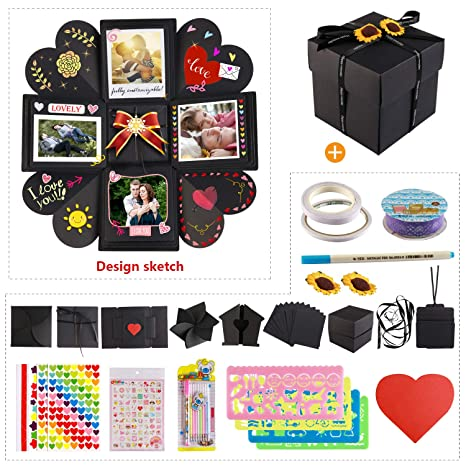 Howaf Caja Regalo Explosion Box Scrapbook DIY Photo Album y Kit de Album de Fotos de