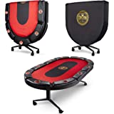 Triton Poker Folding 8 and 10 Player Poker Table Casino Style Fully Assembled with Interchangeable Mats and Wheel (10 Players