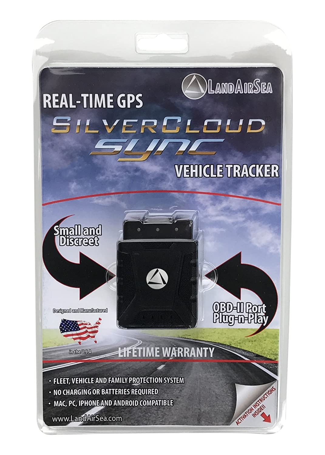 LandAirSea SilverCloud SYNC Real-time Tracking Device Covert OBD2 GPS Tracker for Vehicles and Fleet Tracking SIM Card Included LandAirSea Systems 3000