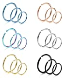 Amazon Price History for:LOYALLOOK 18Pcs 20G 316L Stainless Steel Nose Ring Hoop Cartilage Hoop Septum Piercing 6-12mm