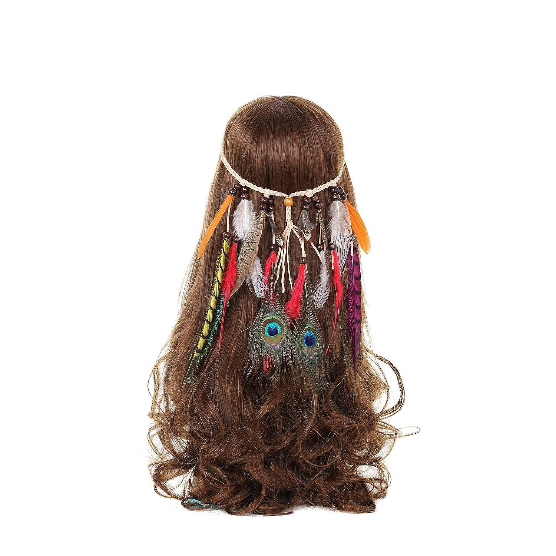 Amazon.com   AWAYTR Boho Fancy Feather Headband - Women Hippie Hairband  Festival Headwear Hair Hoop   Beauty 4461203f2a4