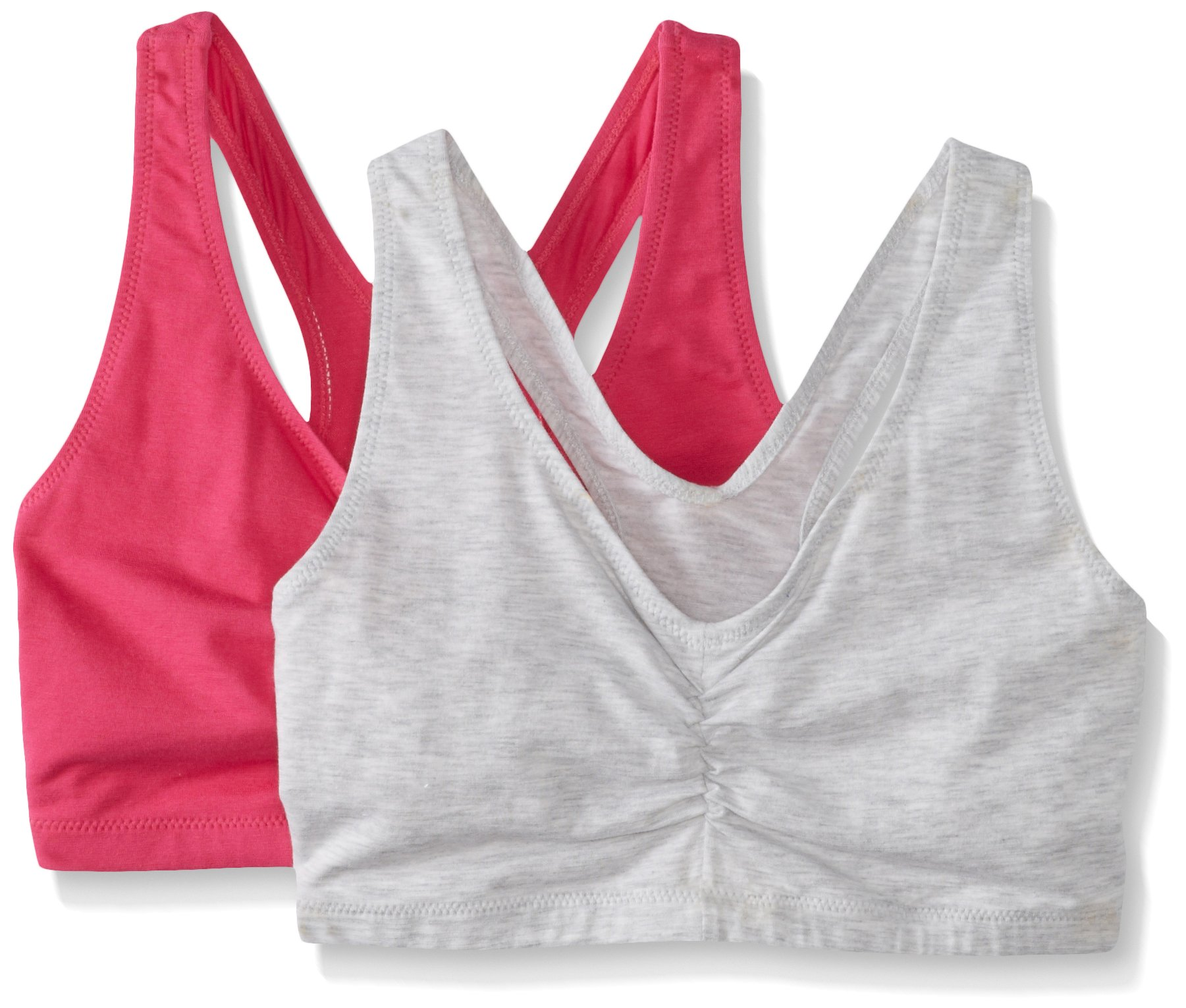 Hanes Women's Comfort-Blend Flex Fit Pullover Bra (Pack of 2),Heather Grey/Fuchsia Purple,Small