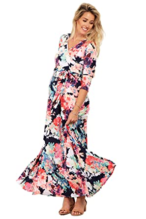 d82869bbf8bad PinkBlush Maternity Navy Abstract Floral Maternity/Nursing Maxi Wrap ...