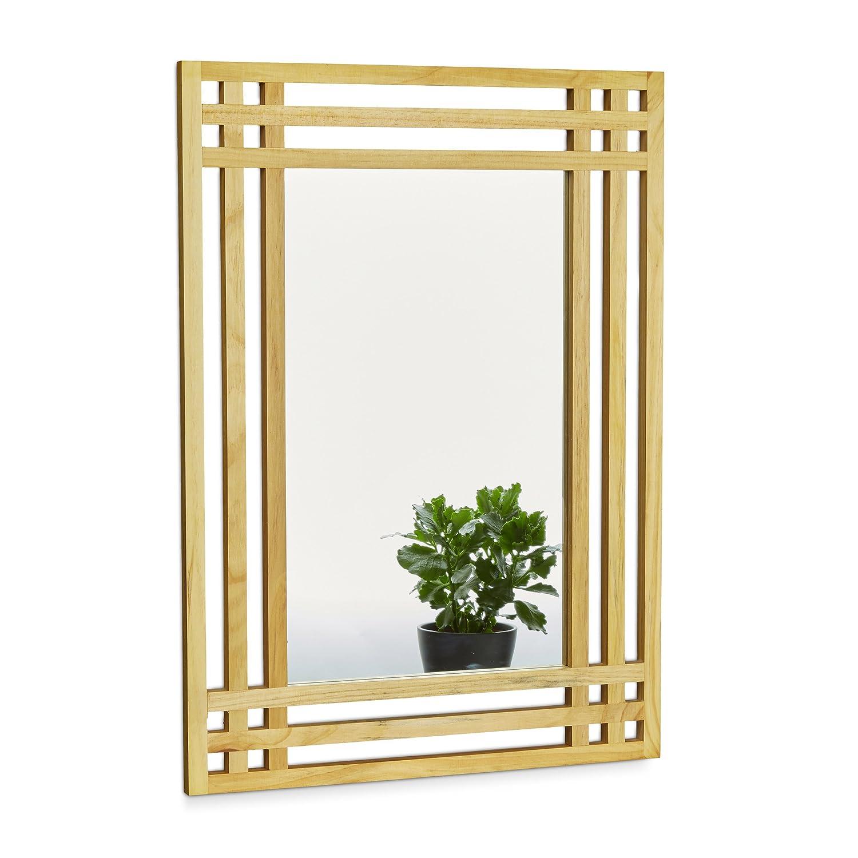 ... x 2 cm Wandspiegel fürs Bad Zum Aufhängen großer Badezimmerspiegel mit Rahmen aus Holz als Badspiegel und Deko-Spiegel Holzrahmenspiegel, Natur Espejo ...