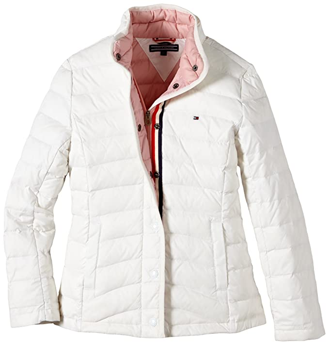 Tommy Hilfiger - Abrigo de plumas de manga larga para niña, color snow white pt