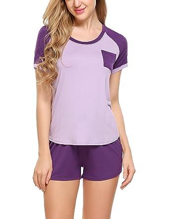 finest selection 45f89 32d05 HOTOUCH Damen Schlafanzug Pyjama Shorty Mit Shorts & Shirt Nachtwäsche  Kurzarm Sleepwear
