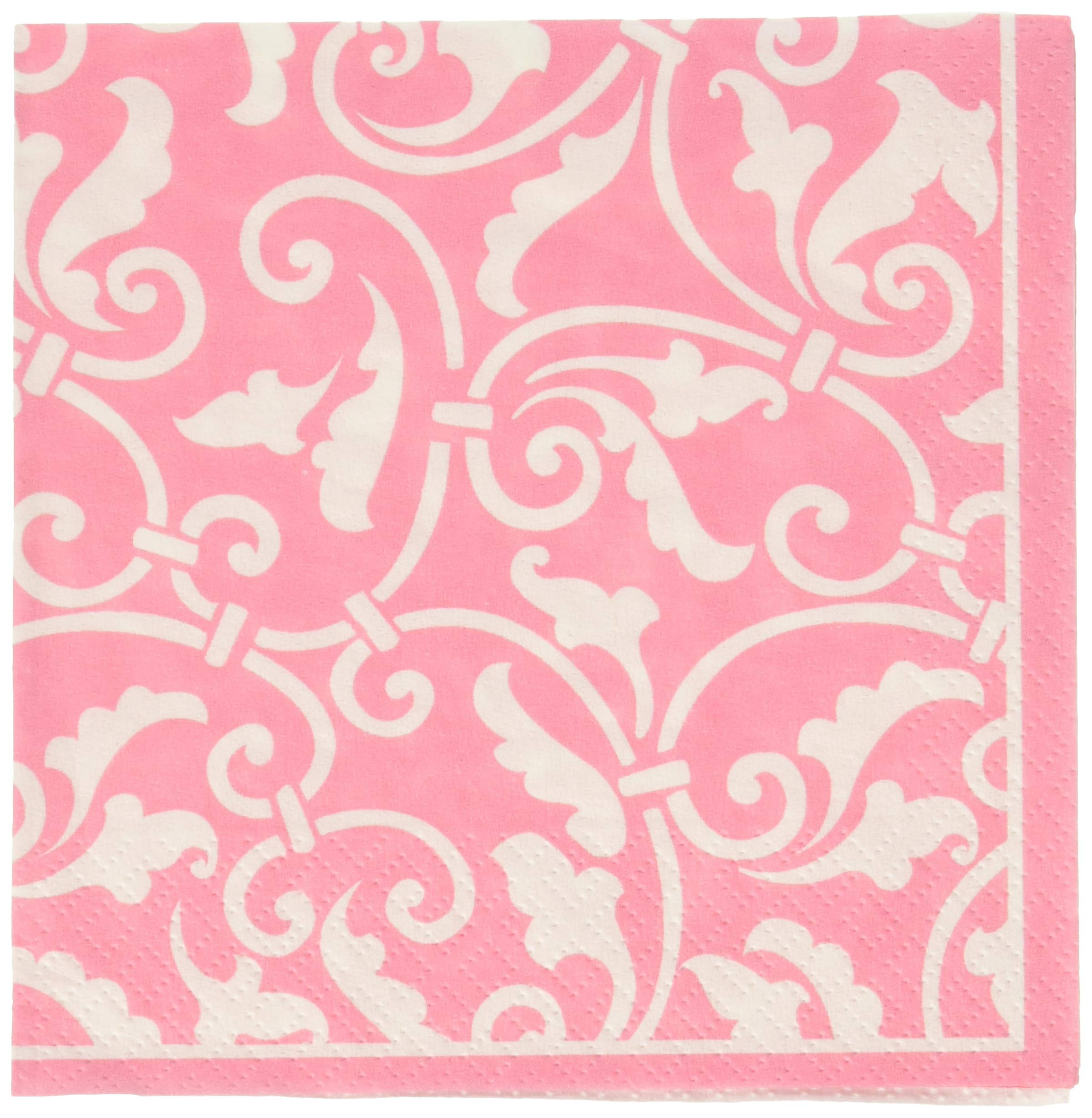 Amscan Ready Ornamental Scroll Beverage Childrens Party Napkins (Pack 16), Pink, 5'' x 5''
