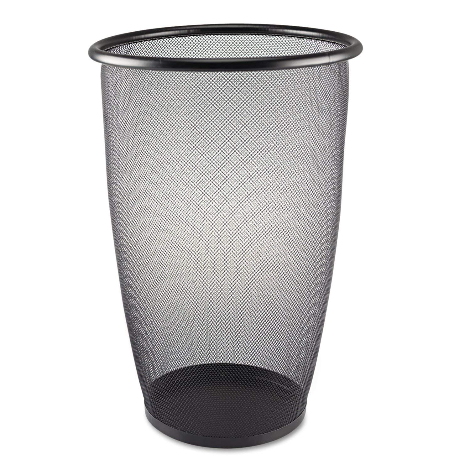 Safco Products 9718BL Onyx Mesh Large Round Wastebasket, 9-Gallon, Black