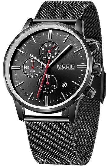 9e8cf26c0d21 Megir Marcas Relojes Hombre Mujer Oro Negro Acero lujo deportivos colores   Amazon.es  Relojes