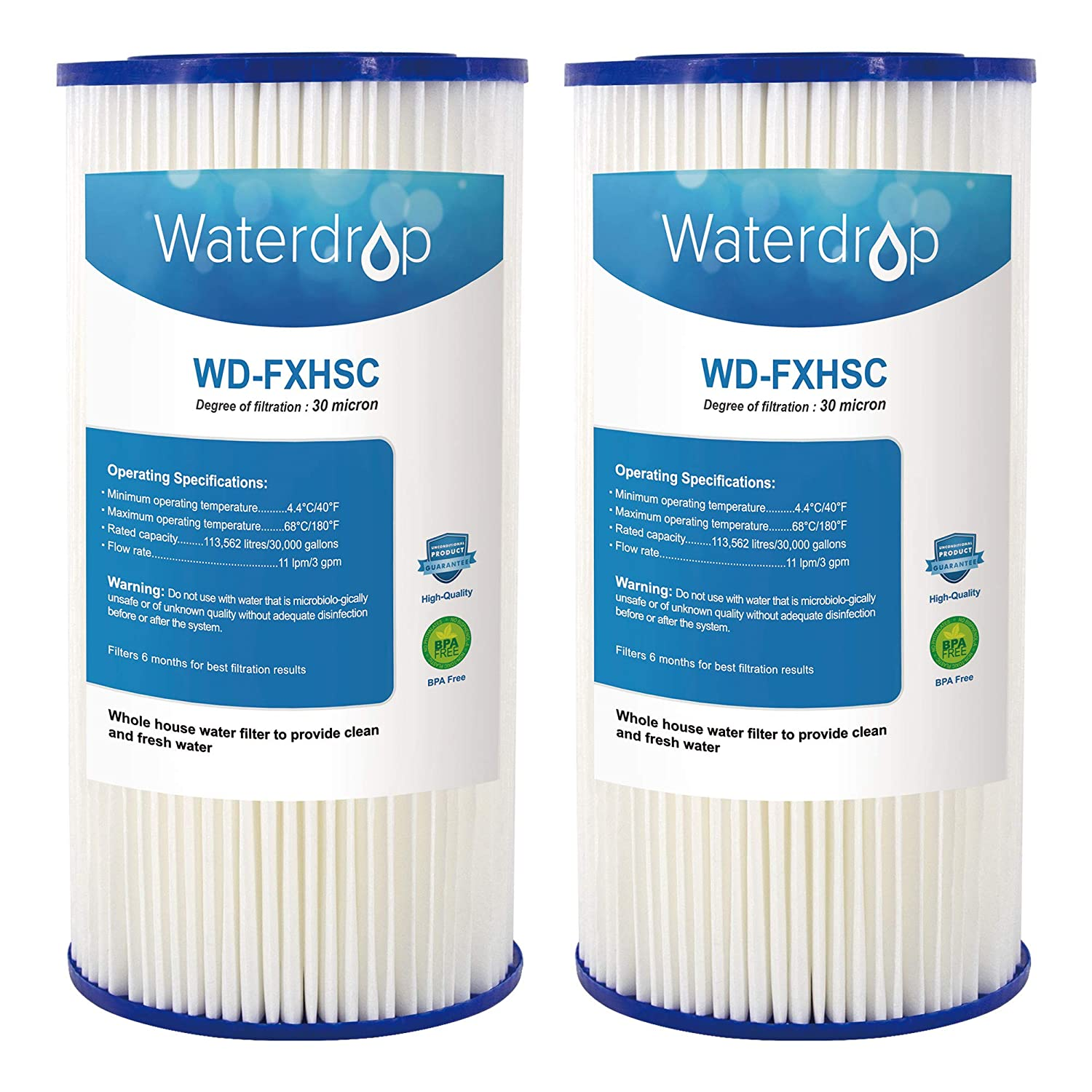 Waterdrop Whole House Sediment Filter, Compatible with GE FXHSC, Culligan R50-BBSA, Pentek R50-BB and DuPont WFHDC3001,American Plumber W50PEHD, GXWH40L, GXWH35F, GNWH38S, GXWH38F (Pack of 2)