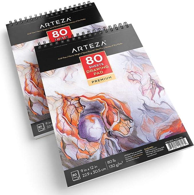 Set da 2 Pezzi Abum Da Disegno Spiralato da 80 Fogli 130g//m/² Carta Bianca ARTEZA Blocco da Disegno A4 Professionale 21,0x29,7 cm