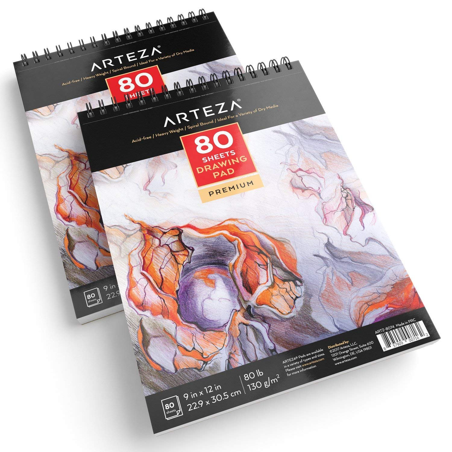 ARTEZA 9X12 Drawing Pad, Pack of 2, 160 Sheets (80lb/130g)