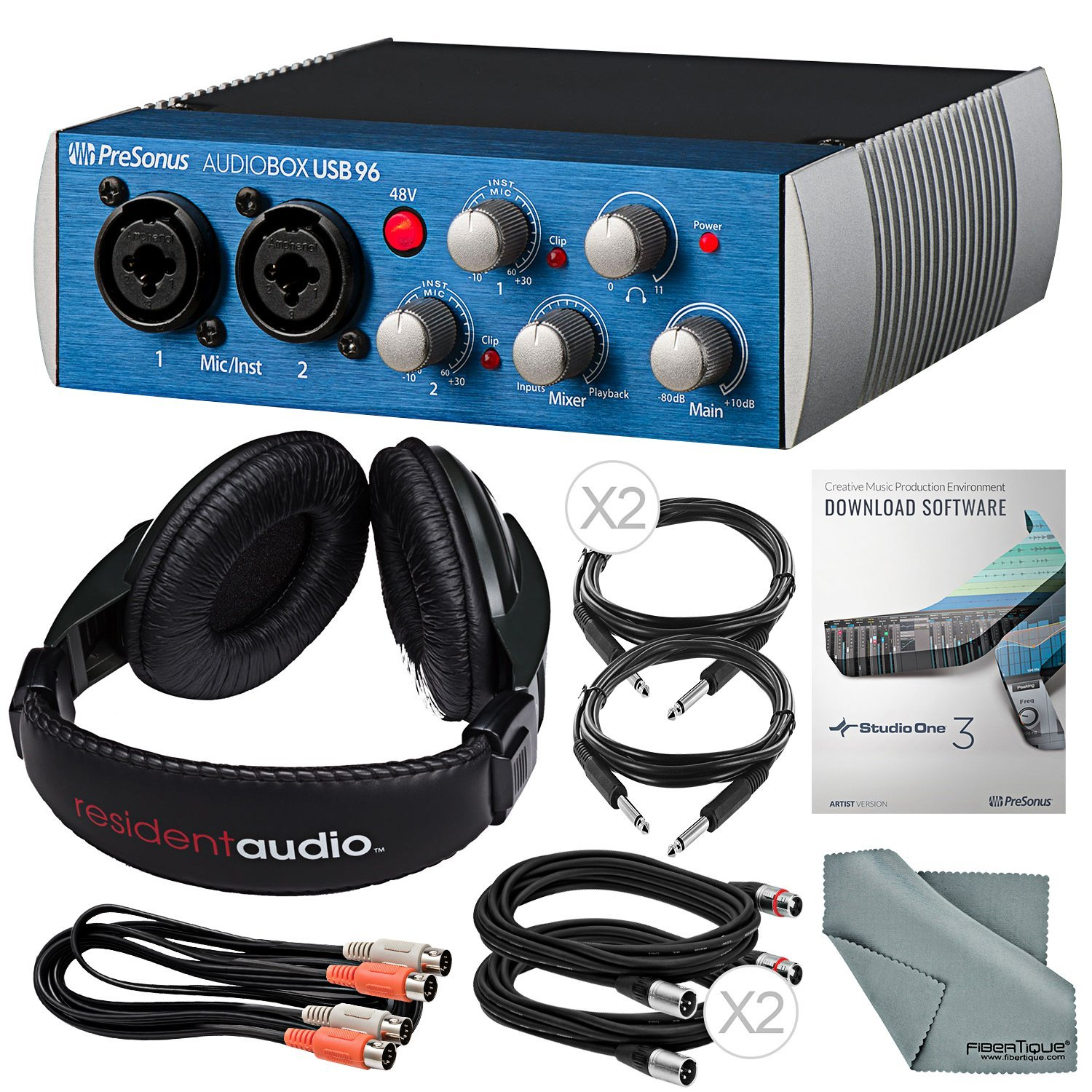 PreSonus AudioBox 96 USB 2.0 Audio Recording Interface and Accessory Bundle w/Stereo Headphones + Xpix Cable + Dual MIDI Cable + Fibertiqe