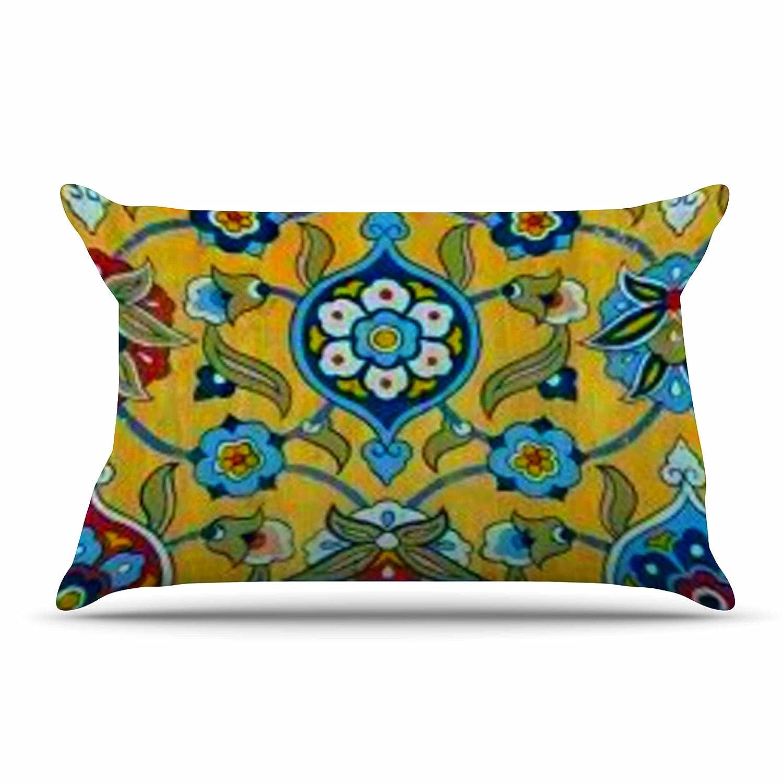 Kess InHouse S 30 X 20 Seema Z Persian Mood Yellow Blue Standard Pillow Case 30 by 20-Inch