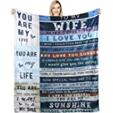 to My Wife Gifts Blanket for Wife Flannel Blanket You are My Life Letter Printed Warm Fuzzy Plush Blanket Soft Luxury Blanket