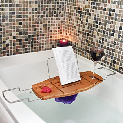 Amazon.com: Ultimate Bamboo Bathtub Caddy Wood Tray Table with Non ...